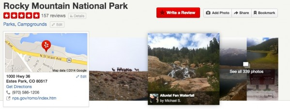 Rocky Mountain National Park has over 150 Yelp reviews and 300+ user-submitted photos. All great insights into what people are doing in and saying about the Park.