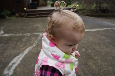 Sofia's very first pigtails.