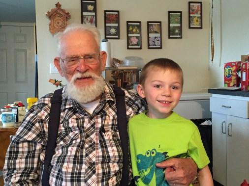 Niko meeting his great-grandpa.