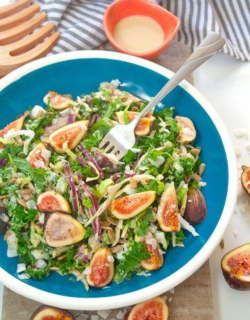Fig and kale salad| brightrootskitchen.com