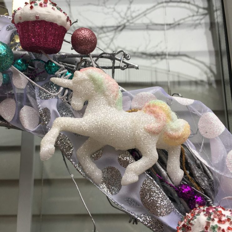Sparkly Unicorn on wreath