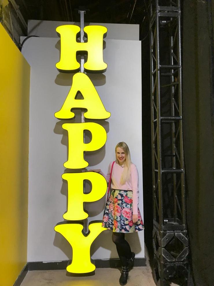 Giant Yellow Happy Sign - happy place