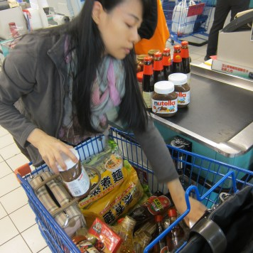 Buying some staple food items. I tossed in Nutella to make it exciting...