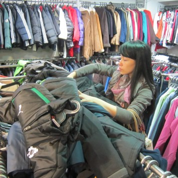 Volunteer Joey being a sweetheart and went with me to select and buy warm thick jackets for kids