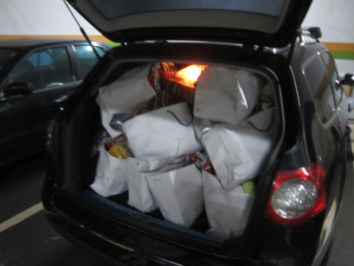 The trunk of my car with too many bags. Add to the car 4 adults and 2 kids on a windy mountain road drive for 2.5 hours each way.