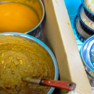 Pumpkin soup and Indian Curry