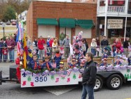 Most Spirited #42: Cub Scout Pack 350: Scouting for the Holidays. This float has American flags every where and an awesome Christmas Tree decorated with more flags.