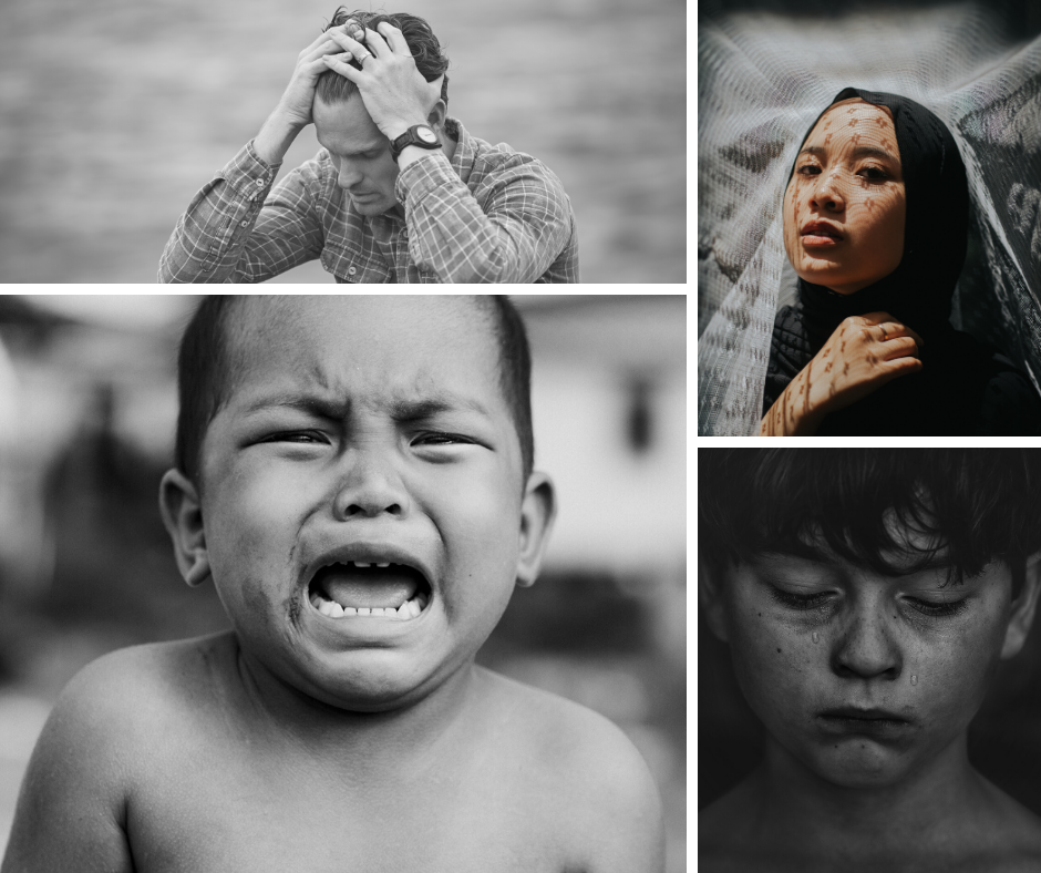 A collage of 4 images showing the faces of people in distress - a white man with short hair holds his head in his hands; a brown skinned woman wearing a hijab gazes at us seriously; a little baby with short black hair and brown skin, looks at us crying; a little boy with pale skin, freckles and curly hair that falls over his forward looks down at the floor with a tear trickling out of each eye.