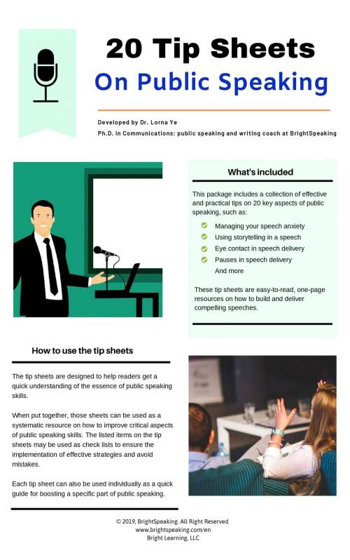 Public Speaking Tip Sheets
