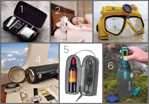 1 - Calf-leather Outdoor Case with Flask, Cups and Binoculars by Thomas Lyte; 2 - Satechi USB Portable Humidifier v.3 Mini; 3 - Water Proof Video and Still Image Camera by Liquid Image; 4 - The Guardian Luxury Travel Safe by Doettling; 5 - Travel Wine Carrier by Navika Designs; 6 - Hydro-Photon SteriPEN (water purifier)