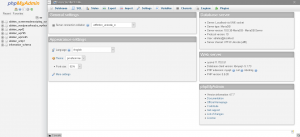 phpMyAdmin Screen Showing Databases to Select