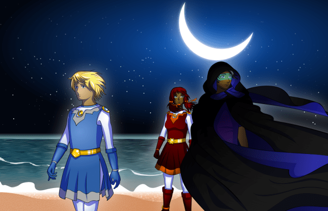 Sol, Luna, and Kestrel do their best impression of a famous Sailor Moon colour illustration