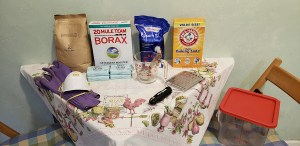 Homemade laundry detergent ingredients and tools