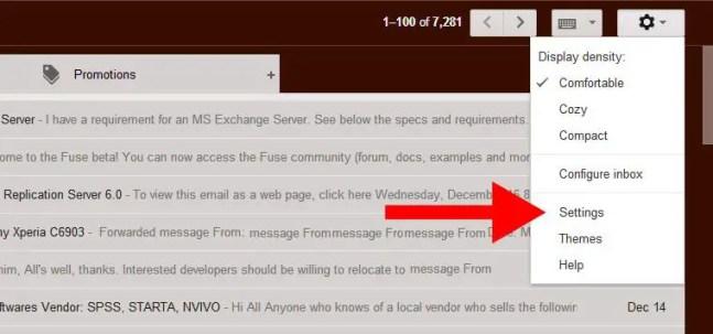 GMail email setting access menu