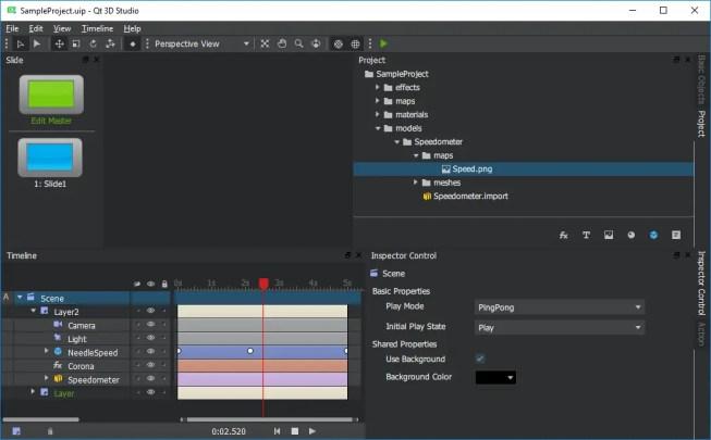 Qt 3D Studio 1.0 Screen