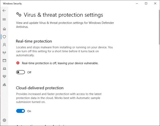 Windows 10 turn off real-time protection
