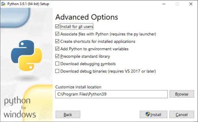 Install Python 3 on Windows Advanced Options
