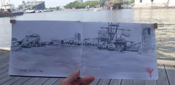inkt schets Oosterdok Amsterdam