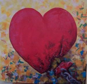 Weiss Herz Malen Auf Roter Hintergrund Stock Bild K11551681