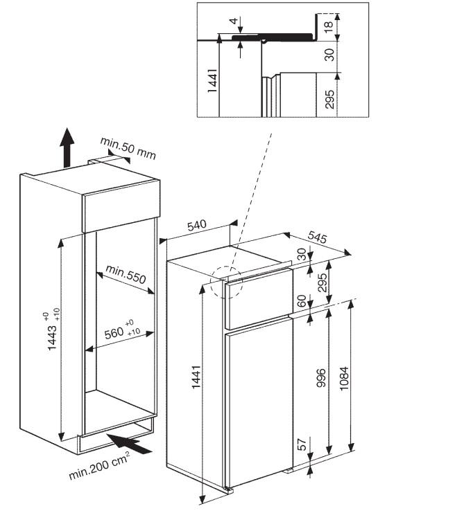 Frigorifero congelatore doppia porta da incasso altezza h for Dimensioni frigorifero