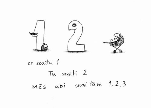 es skaitu 1/ Tu skaiti 2 / Mēs abi skaitām 1, 2, 3