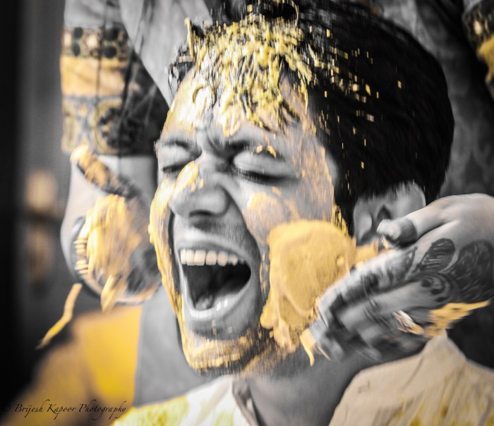 GROOM DURING HIS HALDI CEREMONY IN AN INDIAN WEDDING PHOTOGRAPHED BY BRIJESH KAPOOR PHOTOGRAPHY