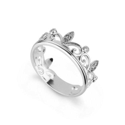 Anel coroa com zircônias folheado em ródio prateado