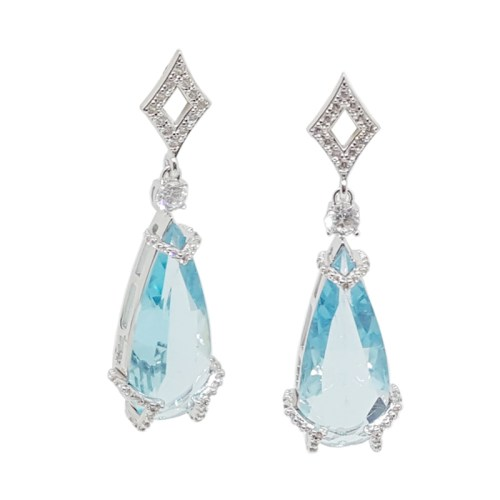 Brinco de festa cristal azul claro com zircônia prateado