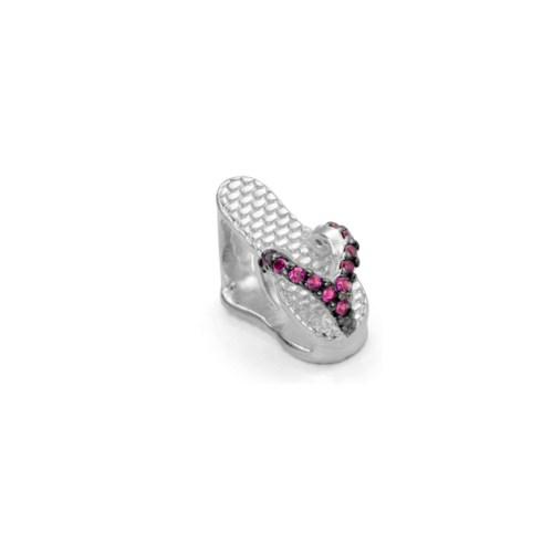 Berloque chinelo de dedo zircônias rosa folheado ródio prateado