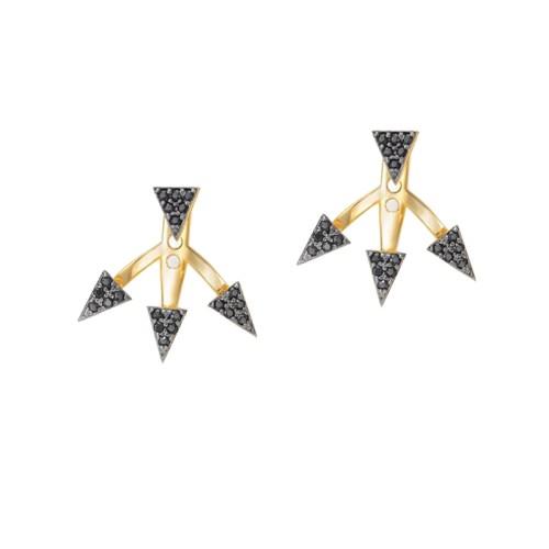 Brinco Ear Cuff Triângulos Zircônia preta