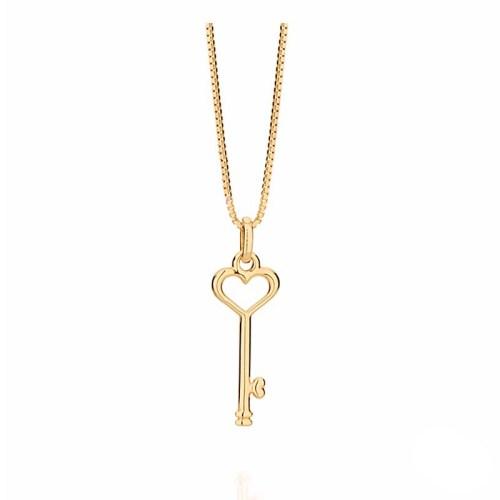 Colar pingente chave coração folheado a ouro