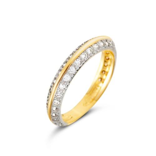 Anel fio de ouro com bordas de zircônias brancas joia folheada ouro