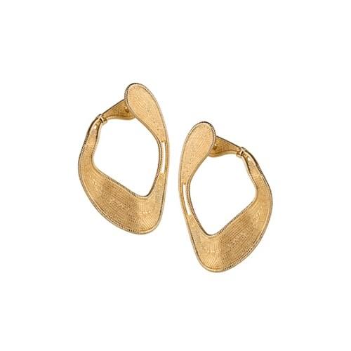 Brinco bipartido design orgânico folheado em ouro dourado