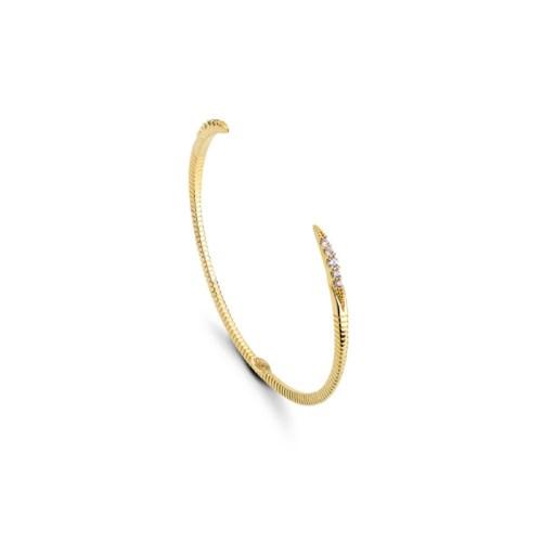 Bracelete aberto ajustável com zircônias nas pontas dourado
