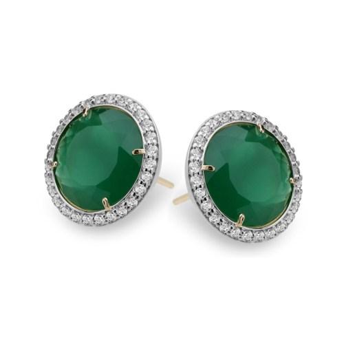 Brinco solitário pedra jade verde esmeralda grande