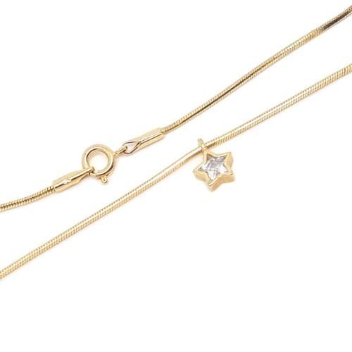 Tornozeleira pingente estrela de zircônia branca 23 cm