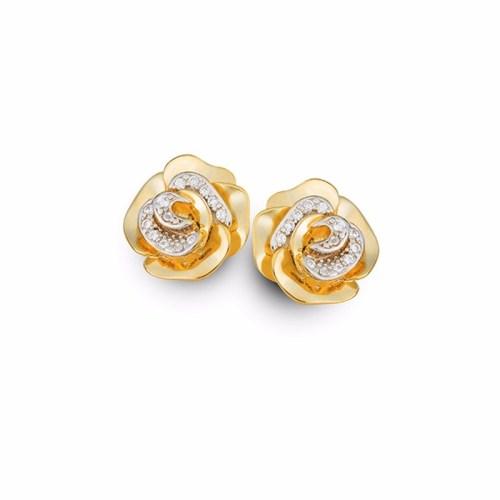 Brinco flor pétalas de rosa com zircônias folheado a ouro