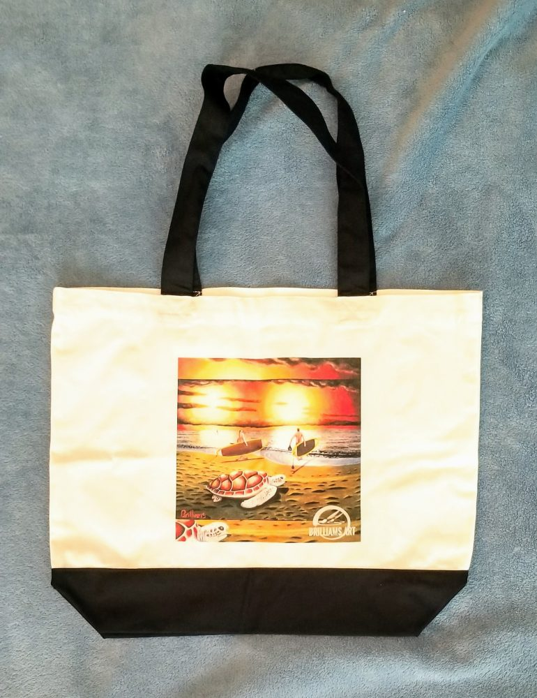 """""""Blue Crab-Paddle Out"""" Large Canvas Tote Bag"""