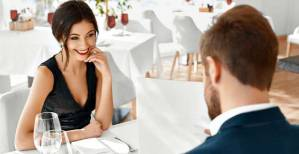 Romantic Couple In Love. Dinner In Restaurant. Romance And Relationships.