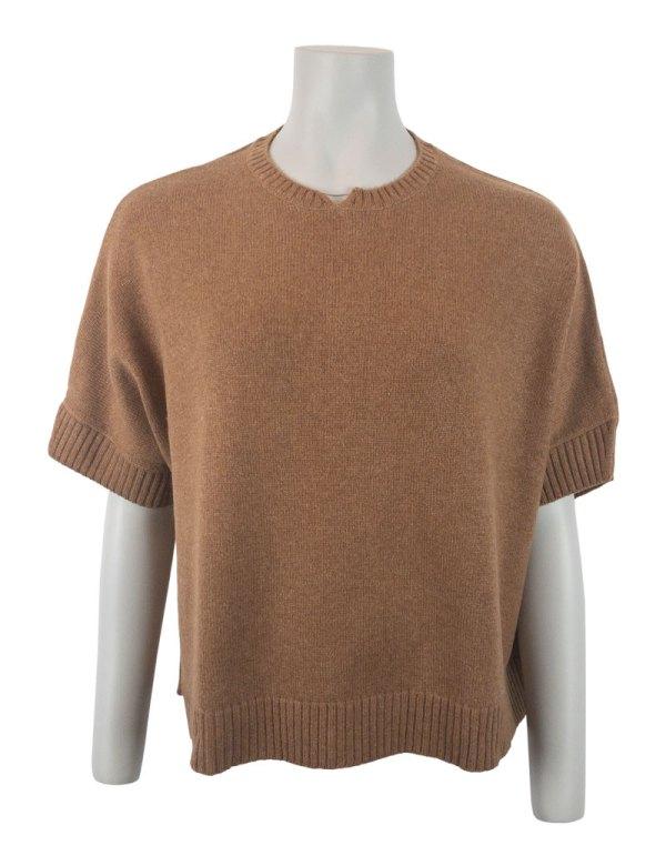 Kamelfärgad 100% kashmir tröja Chunky Boxy Sweater