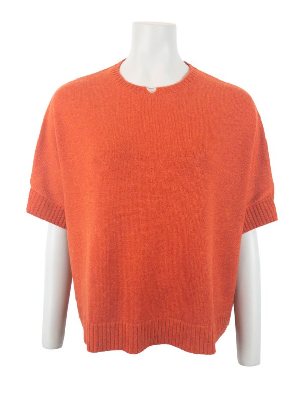 Orange melange färgad oversized kashmirtröja chunky boxy sweater