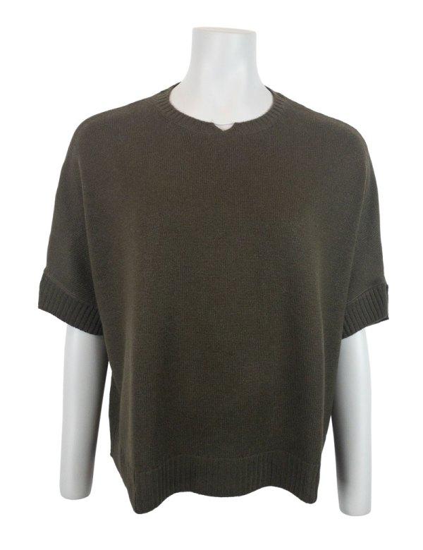 Mörk army färgad tröja i 100% kashmir med generös passform