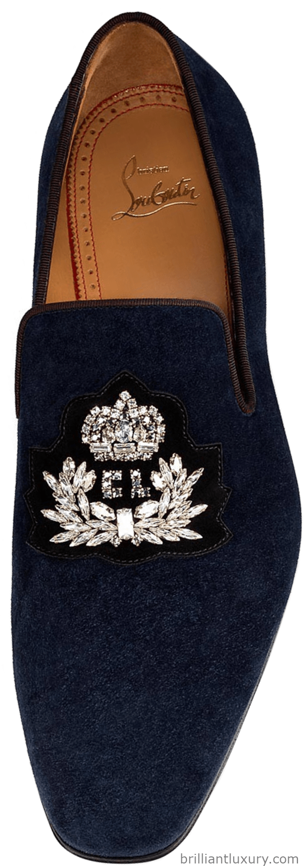 Christian Louboutin Logo Dandelion loafers in navy velvet featuring a hand-sewn embroidered strass logo crest