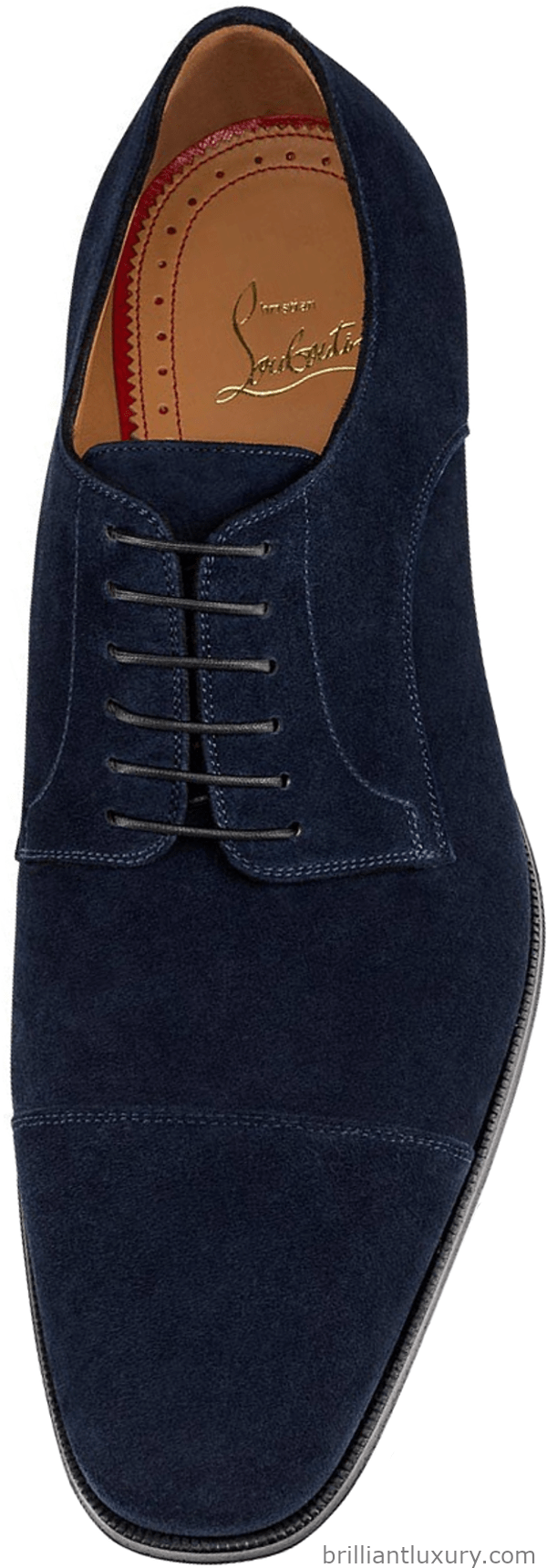 Christian Louboutin Cousin Top Daviol oxford flat in navy blue velour leather