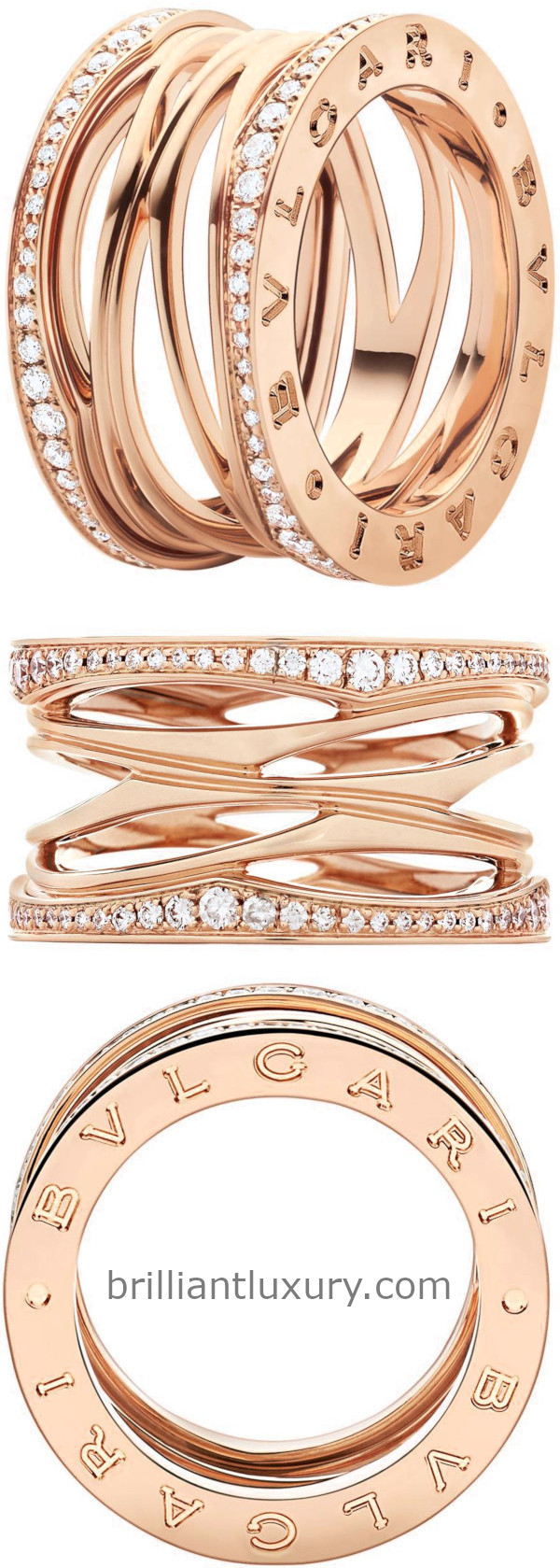 Bvlgari B.Zero1 Design Legend four-band ring in 18kt rose gold set with pavé diamonds on the edges
