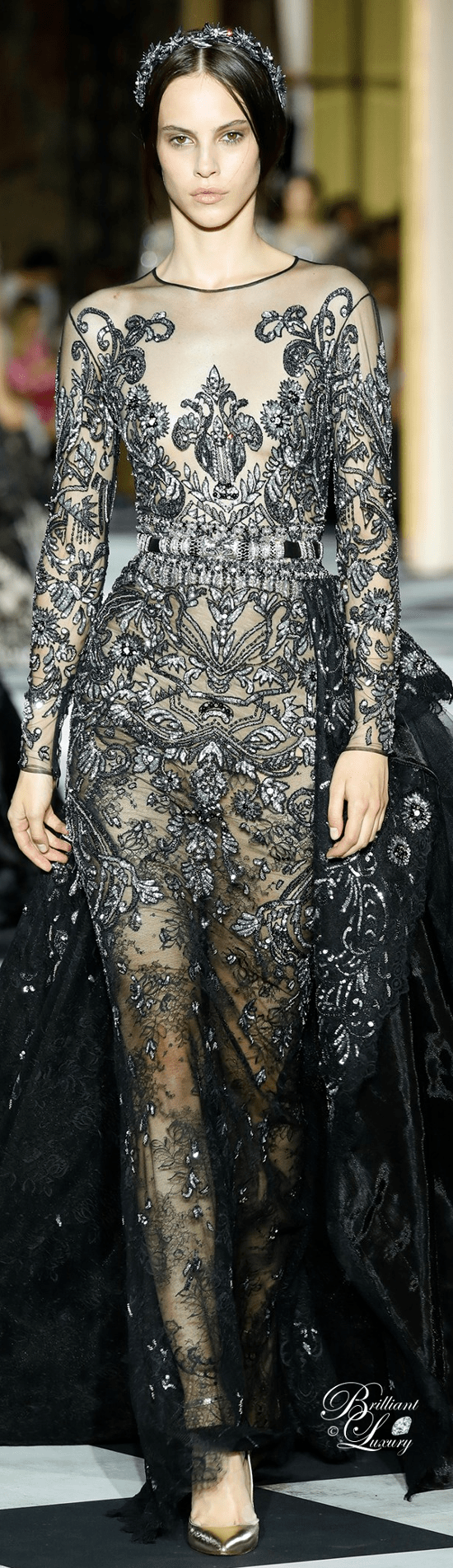 Zuhair Murad long fully beaded dress with silver embroidery