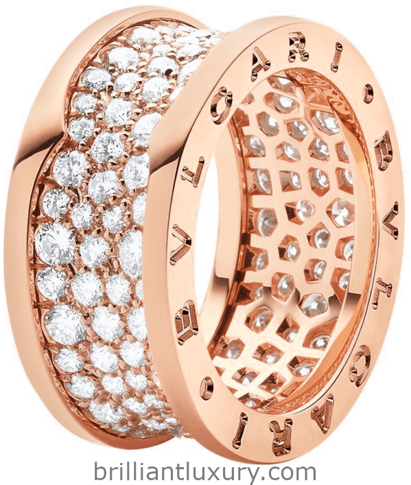 Bvlgari B.zero1 four-band ring in 18kt rose gold set with diamonds on the spiral