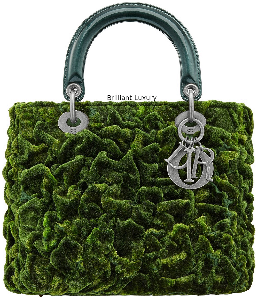 Lady Dior Mini Art Bag in cotton silk embroidered with texture create a vegetal moss effect tie and dye effect green color Designer Lee Bul