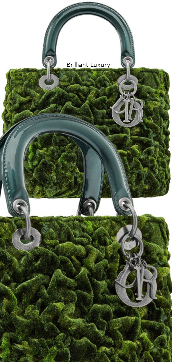 Dior Bag in cotton silk embroidered with texture create a vegetal moss effect tie and dye effect green color Designer Lee Bul
