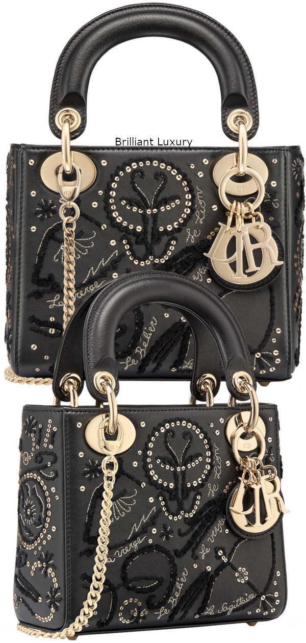 Dior Bag in black smooth calfskin embroidered with threads and sequins depicting the signs of the zodiac